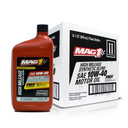 MAG 1 10W40 High Mileage API SN Synthetic Blend Oil for Gasoline Engines 1qt (946ml), 1 case of 6 qts PN#64841 image here