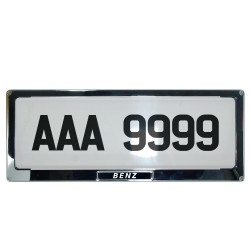 Deflector Vehicle License Plate Cover Protector for NEW License Plates Stainless Steel Frame and Flat Center DLP-9099-DE image here