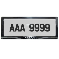 Deflector Vehicle License Plate Cover Protector for NEW License Plates, Convex Center, for Nissan #DLP-8019-C-NI image here