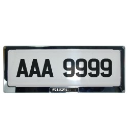 Deflector Vehicle License Plate Cover Protector for NEW License Plates Stainless Steel Frame and Flat Center for Suzuki DLP-9099-SU image here