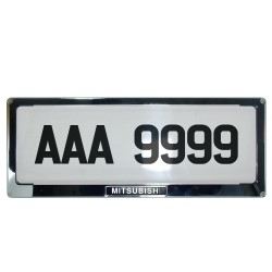 Deflector Vehicle License Plate Cover Protector for NEW License Plates Stainless Steel Frame and Flat Center for Mitsubishi DLP-9099-MI image here