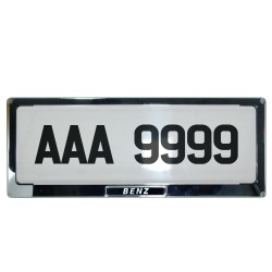 Deflector Vehicle License Plate Cover Protector for NEW License Plates Stainless Steel Frame and Flat Center for Mercedes Benz DLP-9099-MB image here