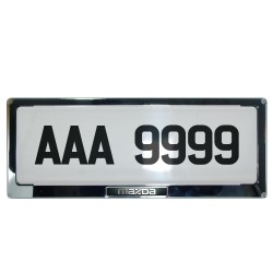 Deflector Vehicle License Plate Cover Protector for NEW License Plates Stainless Steel Frame and Flat Center for Mazda DLP-9099-MA image here