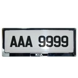 Deflector Vehicle License Plate Cover Protector for NEW License Plates Stainless Steel Frame and Flat Center for Kia DLP-9099-KI image here
