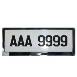 Deflector Vehicle License Plate Cover Protector for NEW License Plates Stainless Steel Frame and Flat Center for Isuzu DLP-9099-IS image here