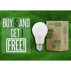 RHLED 5 WATTS LED DIMMABLE BULB (COOL WHITE) - BUY 5 GET 1  BL1105CW image here