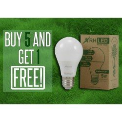 RHLED 5 WATTS LED DIMMABLE BULB (WARM WHITE) - BUY 5 GET 1 image here