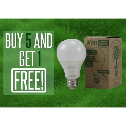 RHLED 7 WATTS LED DIMMABLE BULB (COOL WHITE) - BUY 5 GET 1 image here