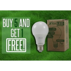 RHLED 7 WATTS LED DIMMABLE BULB (WARM WHITE) - BUY 5 GET 1 image here