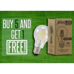 RHLED 4 WATTS DIMMABLE LED FILAMENT BULB (WARM WHITE) - BUY 5 GET 1 image here