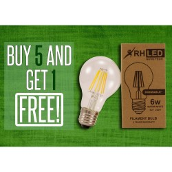 RHLED 6 WATTS DIMMABLE LED FILAMENT BULB (WARM WHITE) - BUY 5 GET 1 image here