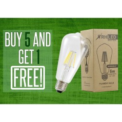 RHLED 6 WATTS DIMMABLE LED FILAMENT VINTAGE BULB (WARM WHITE) - BUY 5 GET 1 image here
