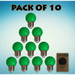 RHLED COLORED ROUND BULB (GREEN) - PACK OF 10 green BL2101GN image here