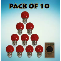 RHLED COLORED ROUND BULB (RED) - PACK OF 10 red BL2101RD image here