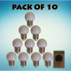 RHLED COLORED ROUND BULB (WHITE) - PACK OF 10 white BL2101WT image here
