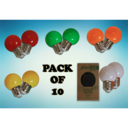 RHLED COLORED ROUND BULBS - PACK OF 10  BL2101CL image here