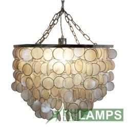 RHLED LAMPS, HEXAGONAL CAPIZ ROUND CHANDELIER,  LC5010 image here