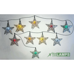 Capiz Star String Lights with colored LED Bulbs - set of 10 image here
