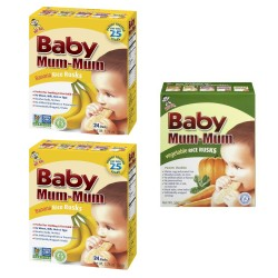 Baby Mum-Mum | 2 Banana and 1 Vegetables  Flavour | All Natural Rice Biscuits for Kids  image here