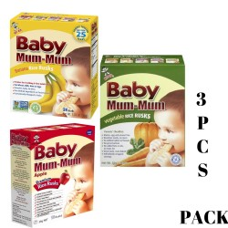 Baby Mum-Mum | All Natural Rice Biscuits for Kids | 3PCS Bundle (1 Flavour Each) image here