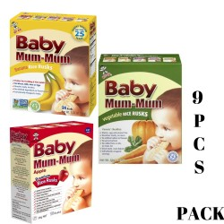 Baby Mum-Mum | All Natural Rice Biscuits for Kids | 9PCS Bundle (3 Flavour Each) image here