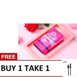 Remax, Kasy Powerbank 10000mAh Pink with Aurora 2in1 datacable Black,pink,RPP64 Pink with Aurora USB 2in1 cable black image here