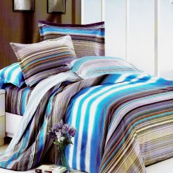 Stripes Design 1 Fitted Sheet with 2 Pillowcase  image here