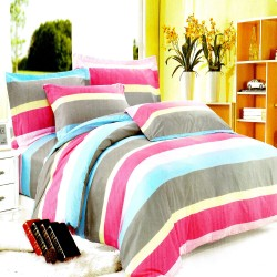Pink Stripes Design 1 Fitted Sheet with 2 Pillowcase Double image here