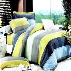Printed Yellow Stripes 1 Fitted Sheet with 2 Pillowcase Queen image here