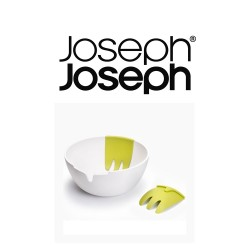 Joseph Joseph Hands On Salad Bowl with Integrated Servers - White image here