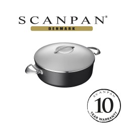 SCANPAN Professional Low Sauce Pot with lid - 28cm, 5L (with 10 year warranty)  60202800 image here
