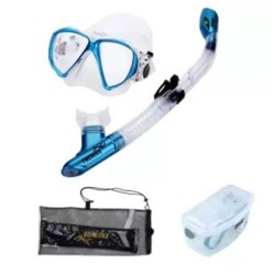 Thenice Diving Snorkeling Set Mask and Breathing Tube (Fashion Blue Suit) with FREE Net bag and Plastic box image here