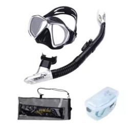 Thenice Diving Snorkeling Set Mask and Breathing Tube (Knight Black Suit) with FREE Net bag and Plastic box image here
