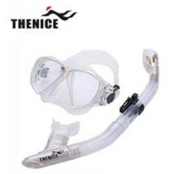 Thenice, Diving Snorkeling Set Mask and Breathing Tube (Elegant White Suit) with FREE Net bag and Plastic box, White, Thenice Snorkeling set(White) image here