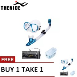 Thenice Diving Snorkeling Set Mask and Breathing Tube (Fashion Blue Suit) with FREE Net bag and Plastic box Buy 1 Take 1 image here