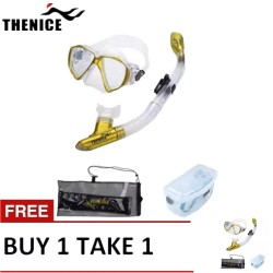 Thenice Diving Snorkeling Set Mask and Breathing Tube (Noble Gold Suit) with FREE Net bag and Plastic box Buy 1 Take 1 image here