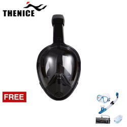 Thenice, Fullface Mask M2098g Black with free snorkeling set, Blue, Black, Thenice M2098g Black with free snorkelingset Blue image here