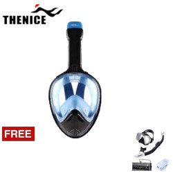 Thenice, Fullface Mask M2098g Blue with free snorkeling set, Black, Thenice M2098g Blue with free snorkelingset Black image here