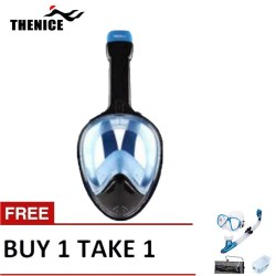 Thenice Fullface Mask M2098g Blue with free snorkeling set Blue image here