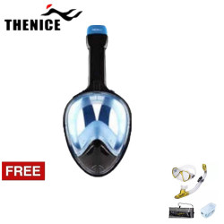 Thenice, Fullface Mask M2098g ,Blue, with free snorkeling set, gold,Thenice M2098g Blue with free snorkelingset Gold image here