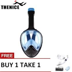 Thenice Fullface Mask M2098g Blue with free snorkeling set White image here