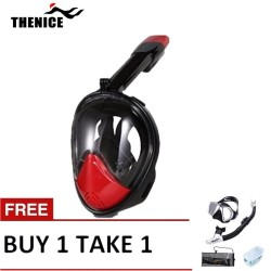 Thenice Fullface Mask M2098g Red with free snorkeling set Black image here