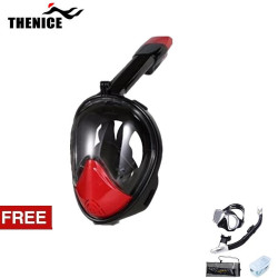 Thenice, Fullface Mask M2098g, Red, with free snorkeling set ,Black, Thenice M2098g Red with free snorkelingset Black image here