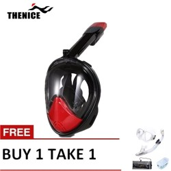 Thenice Fullface Mask M2098g Red with free snorkeling set White image here