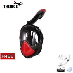 Thenice, Fullface Mask M2098g, Red, with free snorkeling set ,White, Thenice M2098g Red with free snorkelingset White image here