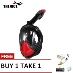 Thenice Fullface Mask M2098g Red with free snorkeling set Gold image here