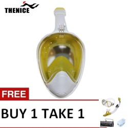 Thenice Fullface Mask M2098g Yellow with free snorkeling set Gold image here