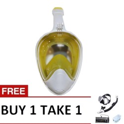 Thenice Fullface Mask M2098g Yellow with free snorkeling set Black image here