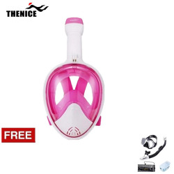 Thenice Fullface Mask M2098g Pink L/XL with free snorkeling set Black Thenice M2098g Pink L/XL with free snorkelingset Black image here