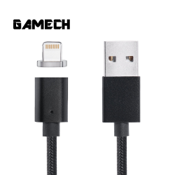 Gamech,Gamech 5th Gen Fast Magnetic Charger and Data Sync Nylon Cable for iOS,black,MCDARARELBL15658160 image here